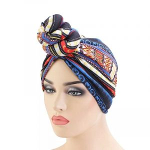 Pretied or knotted turban head scarf