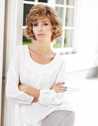 medium length wig with curls