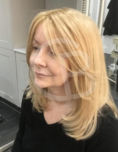 Medium length blonde ladies wig, handmade by Baguley's of Cheshire