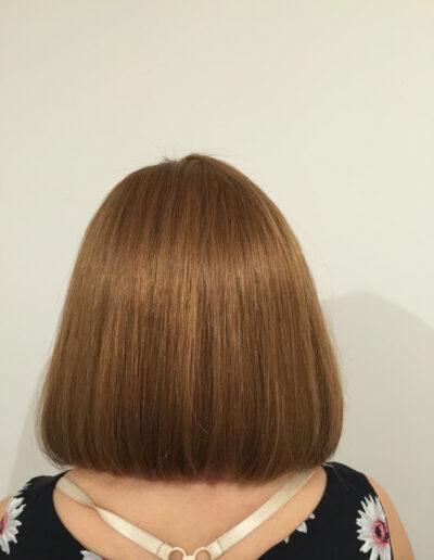 back view of ladies handmade wig