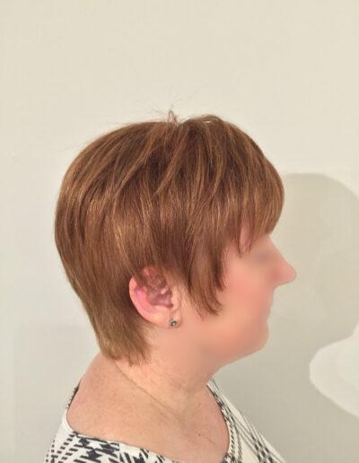 side view of ladies handmade wig
