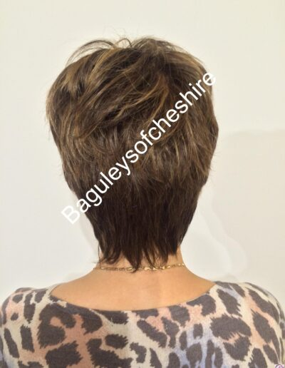 back view of handmade wig for women