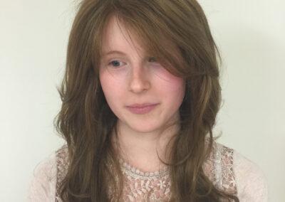 Laura's handmade wig by Chris Baguley
