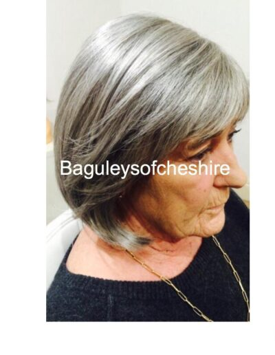 Ladies handmade wigs in highlighted grey and white tones