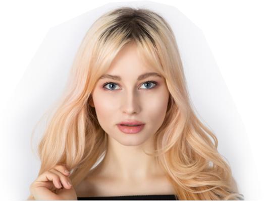 Handmade ladies wig in blonde with natural root
