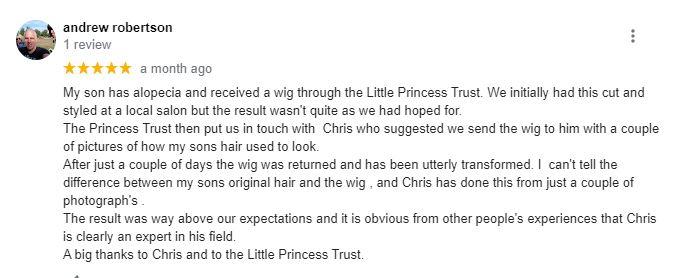 Google 5 star review for a handmade wig